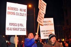 De Protesten van Boekarest - 19 januari 2012 - 2 Stock Foto's