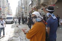 De Protesten van Istanboel Taksim Stock Afbeeldingen