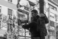 De protesten van de student in Tirana royalty-vrije stock afbeeldingen