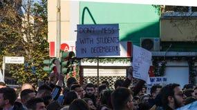 De protesten van de student in Tirana royalty-vrije stock foto