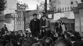 De protesten van de student in Tirana stock fotografie