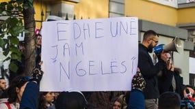 De protesten van de student in Tirana stock foto