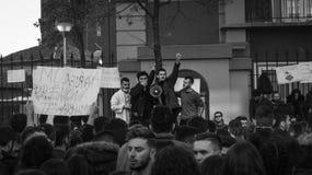 De protesten van de student in Tirana royalty-vrije stock afbeelding