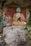 De Provincie van de Anyueprovincie, Sichuan in de Noordelijke tempel van het de Pauwhol van de Lieddynastie leidde drie Boedha to Royalty-vrije Stock Foto's