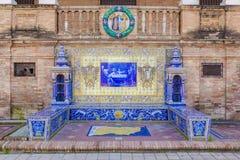 De Provincie van Salamanca, Verglaasde tegelsbank bij het Vierkant van Spanje, Sevilla stock foto's