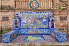 De Provincie van Valladolid, Verglaasde tegelsbank bij het Vierkant van Spanje, Sevill royalty-vrije stock foto