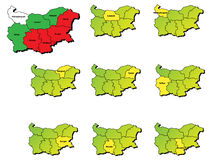 De provincieskaarten van Bulgarije Stock Afbeelding
