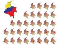 De provincieskaarten van Colombia Stock Afbeelding