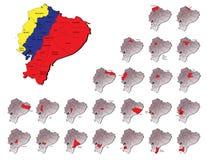 De provincieskaarten van Ecuador Stock Afbeeldingen