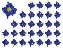 De provincieskaarten van Kosovo Royalty-vrije Stock Afbeeldingen