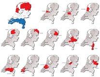 De provincieskaarten van Nederland Stock Foto's
