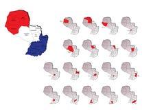 De provincieskaarten van Paraguay Stock Foto