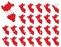 De provincieskaarten van Peru Stock Foto