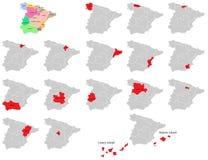 De provincieskaarten van Spanje Stock Fotografie