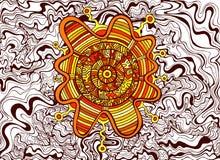 De psychedelische kleurrijke surreal achtergrond van de krabbelgolf Abstract DE vector illustratie