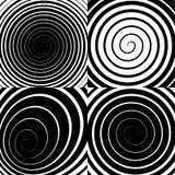 De psychedelische spiraal met radiale stralen, werveling, verdraaide grappig effect, vectorreeks stock illustratie