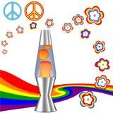 De psychedelische Uitrusting van de Hippie van jaren '60jaren '70 met de Lamp van de Lava Stock Afbeeldingen
