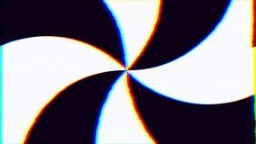 De psychedelische zwart-witte spiraalvormige TV-van de de lijnanimatie 4K van het het schermlawaai naadloze Hypnotic Achtergrond royalty-vrije illustratie