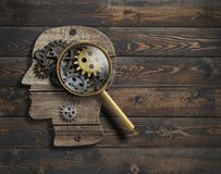 De psychologie of vindt conceptie uit De model 3d illustratie van de hersenenfunctie Stock Fotografie