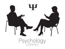 De psycholoog en de cliënt psychotherapy Psycho therapeutische zitting Het psychologische adviseren Man vrouw het spreken Royalty-vrije Stock Fotografie