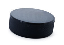 De puck van het hockey Stock Afbeeldingen