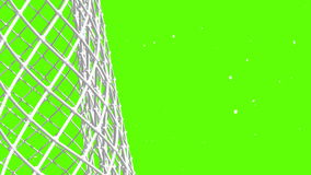 De puck vliegt aan poort op groene achtergrond