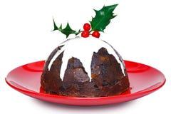 De pudding van Kerstmis die op wit wordt geïsoleerde Stock Afbeeldingen