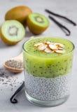 De pudding van vanillechia met kiwi, gelaagd dessert, concrete achtergrond royalty-vrije stock afbeeldingen