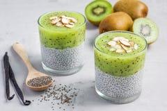 De pudding van vanillechia met kiwi, gelaagd horizontaal dessert, royalty-vrije stock foto's