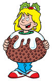 De puddingsmeisje van Kerstmis Royalty-vrije Stock Fotografie