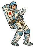 De punten van de astronauten jonge mens Isoleer op een witte achtergrond stock illustratie