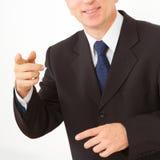 De punten van de zakenman aan u. Stock Foto's