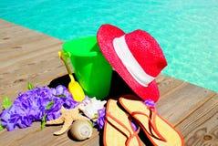 De Punten van het strand door Pool royalty-vrije stock afbeeldingen