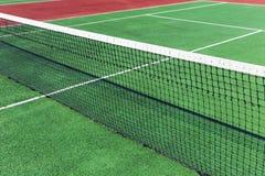 De punten van de tennisbaan net Stock Foto