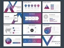 De purpere blauwe malplaatjes van de driehoekspresentatie, Infographic-het vlakke ontwerp van het elementenmalplaatje plaatsen vo royalty-vrije illustratie