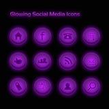De purpere Gloeiende Sociale Pictogrammen van Media Royalty-vrije Stock Afbeelding