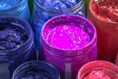 De Purpere kleur van Proton van het schermdrukinkt stock foto's