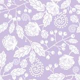 De purpere lijnkunst bloeit naadloos patroon Stock Foto
