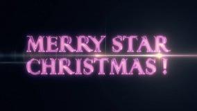 De purpere roze tekst van de STERkerstmis van het laserneon VROLIJKE met glanzende lichte optische gloedanimatie op zwarte nieuwe stock illustratie