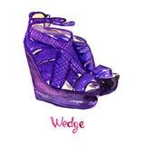 De purpere schoenen van de leathewig Stock Afbeelding