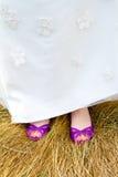 De purpere Schoenen van het Huwelijk Stock Fotografie