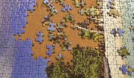 De puzzel op een schijf met heel wat verliest delen Royalty-vrije Stock Foto's