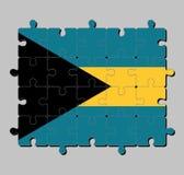 De puzzel van de Bahamas markeert in triband van aquamarijnbovenkant en bodem en goud met de zwarte die chevron aan de hijstoeste vector illustratie