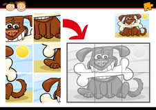 De puzzelspel van de beeldverhaalhond Stock Foto's