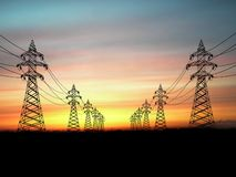 De pylonen van de elektriciteit Royalty-vrije Illustratie