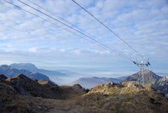De Pylonen van de Kabelwagen op Berg Haldigrat stock afbeelding
