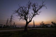 De pylonen van de silhouetelektriciteit stock afbeeldingen