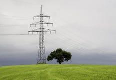 De pyloon van de elektriciteit op een weide Stock Afbeelding