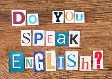` De question parlez-vous anglais ? ` sur le fond en bois Photographie stock