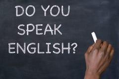 ` De question parlez-vous anglais ? ` sur le tableau noir Photo stock